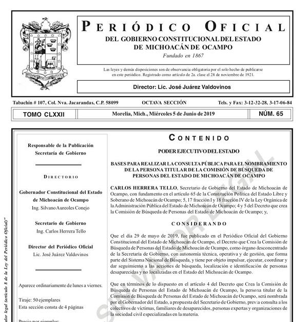 Pública Segob convocatoria para Comisión de Búsqueda de Personas Desaparecidas