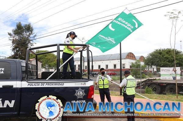 Con Bandera Verde, mantiene SSP acciones preventivas contra COVID-19 en Cuitzeo