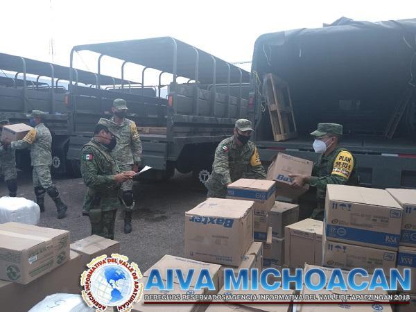 Ejército Mexicano recepciona insumos médicos en la ciudad de Apatzingán