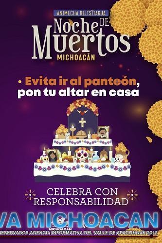 En micrositio del Gobierno de Michoacán, lineamientos para celebrar con responsabilidad la Noche de Muertos