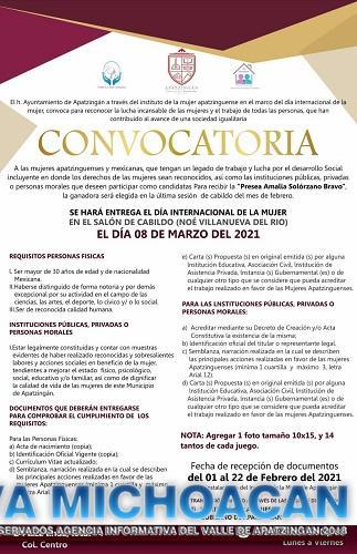 "Se extiende convocatoria para la Presea ""Amalia Solórzano Bravo"""