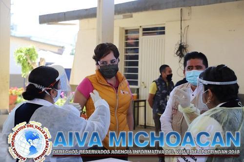 Supervisa SSM vacunación de adultos mayores contra COVID-19 en Tingambato
